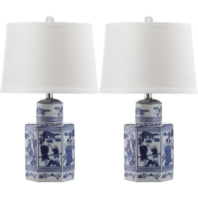 Judy 27 in. Antique White/Blue Table Lamp with Off-White Shade (Set of 2)
