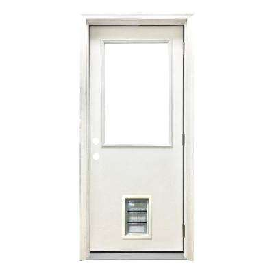 36 in. x 80 in. Classic Clear Half Lite LHOS White Primed Fiberglass Prehung Front Door with Med Pet Door