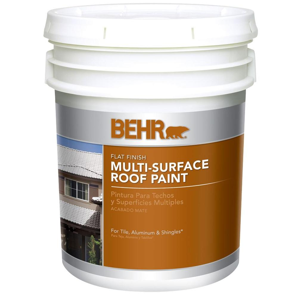 BEHR 5 Gal. White Flat Acrylic Latex Roof Paint-06505