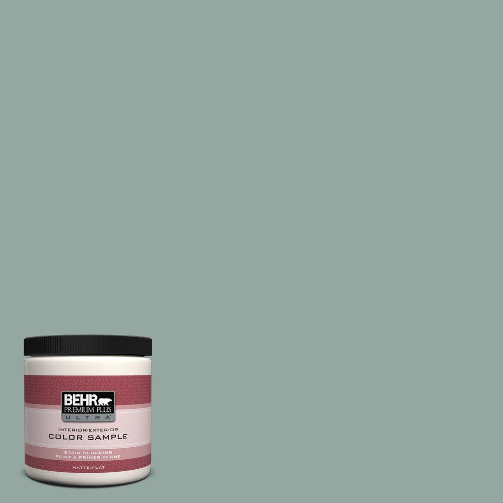 8 oz. #PPU12-5 Lotus Leaf Matte Interior/Exterior Paint and Primer in