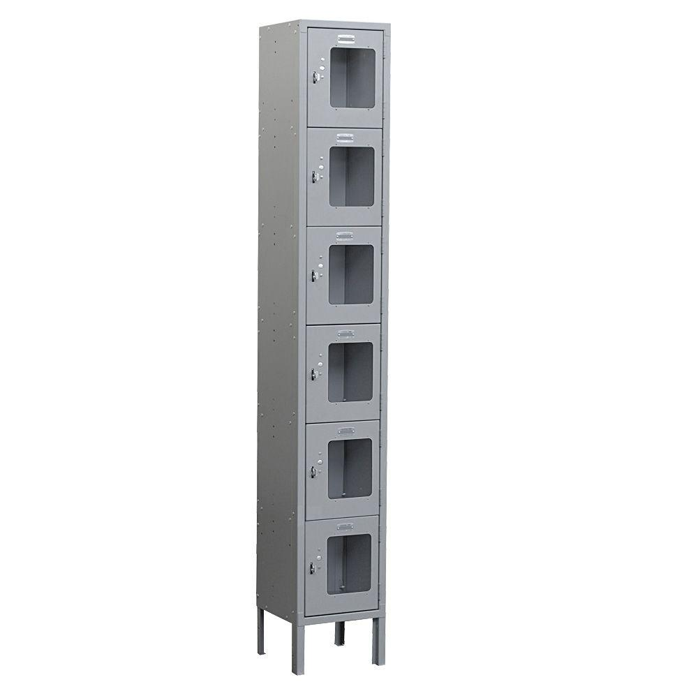 Salsbury Industries S-66000 Series 12 in. W x 78 in. H x 12 in. D 6-Tier Box Style See-Through Metal Locker Unassembled in Gray