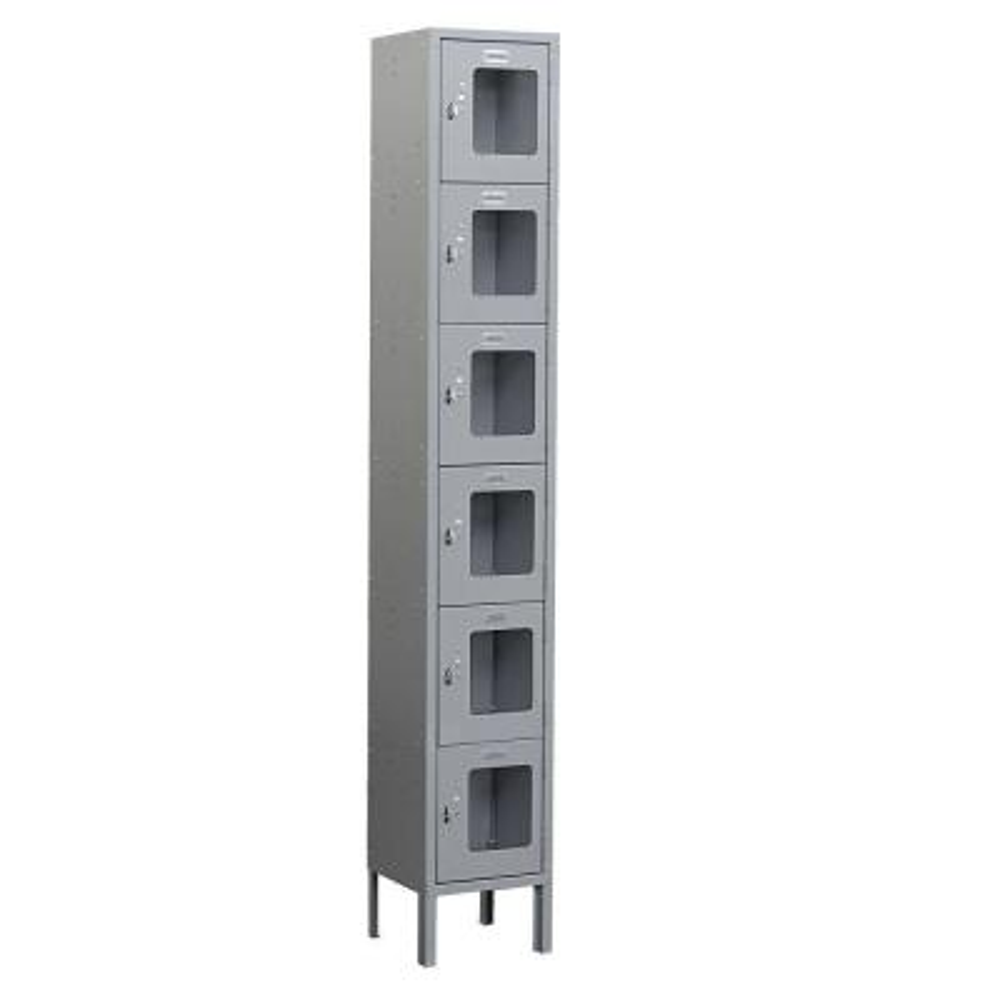 S-66000 Series 12 in. W x 78 in. H x 12 in. D 6-Tier Box Style See-Through Metal Locker Unassembled in Gray