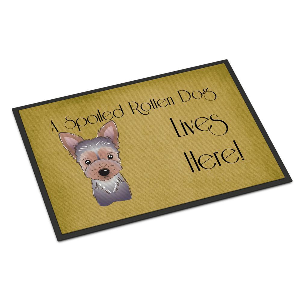 18 in. x 27 in. Indoor/Outdoor Yorkie Puppy Spoiled Dog Lives Here Door Mat