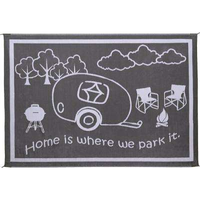 8 ft. x 18 ft. Black/White RV Home Reversible Mat