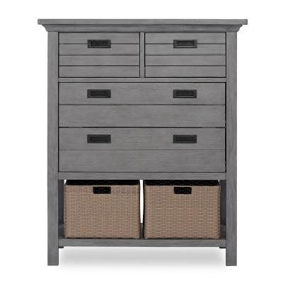 Waverly 4-Drawer Rustic Grey Chest with Baskets