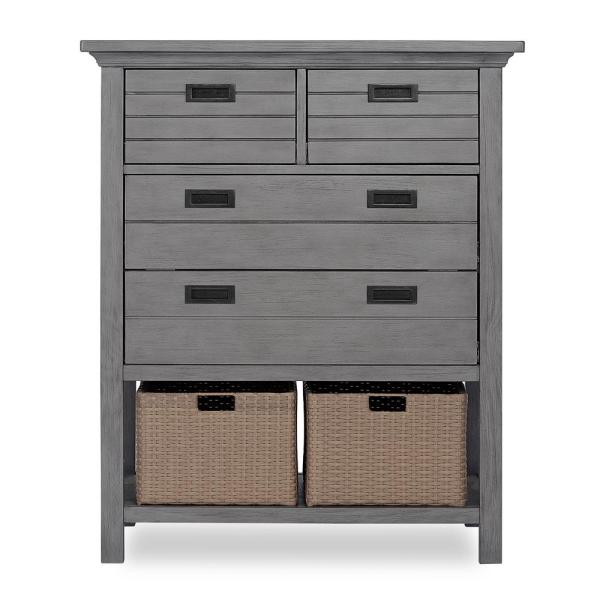 Evolur Waverly 4 Drawer Rustic Grey Chest With Baskets