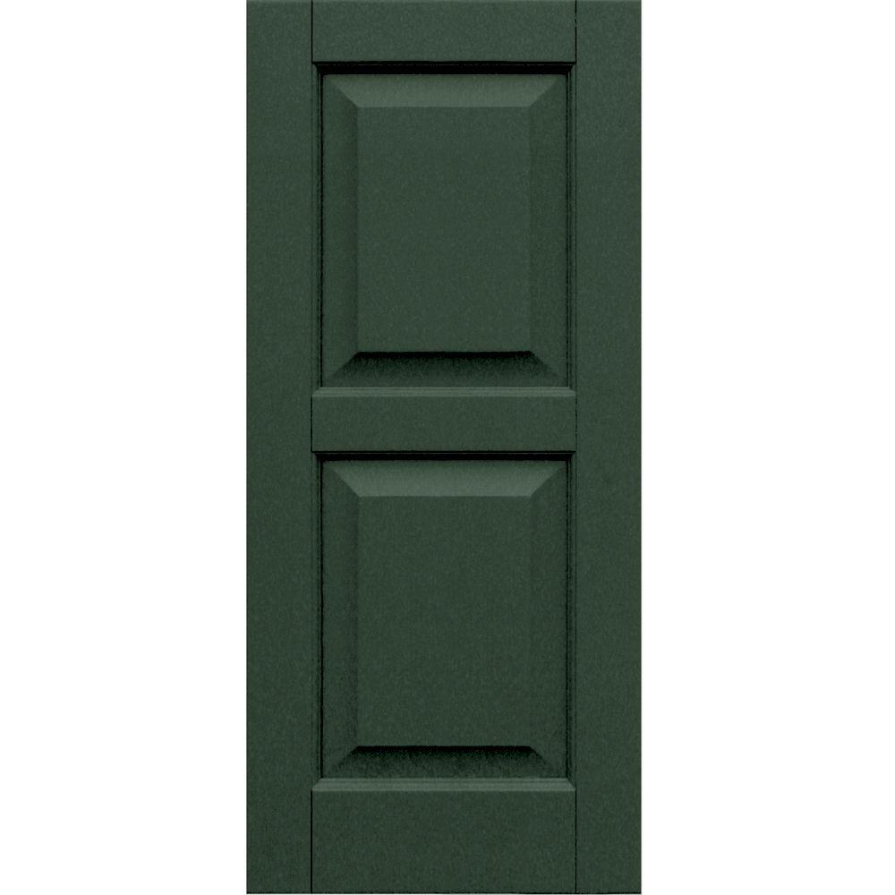 Winworks Wood Composite 15 in. x 34 in. Raised Panel Shutters Pair #656 Rookwood Dark Green