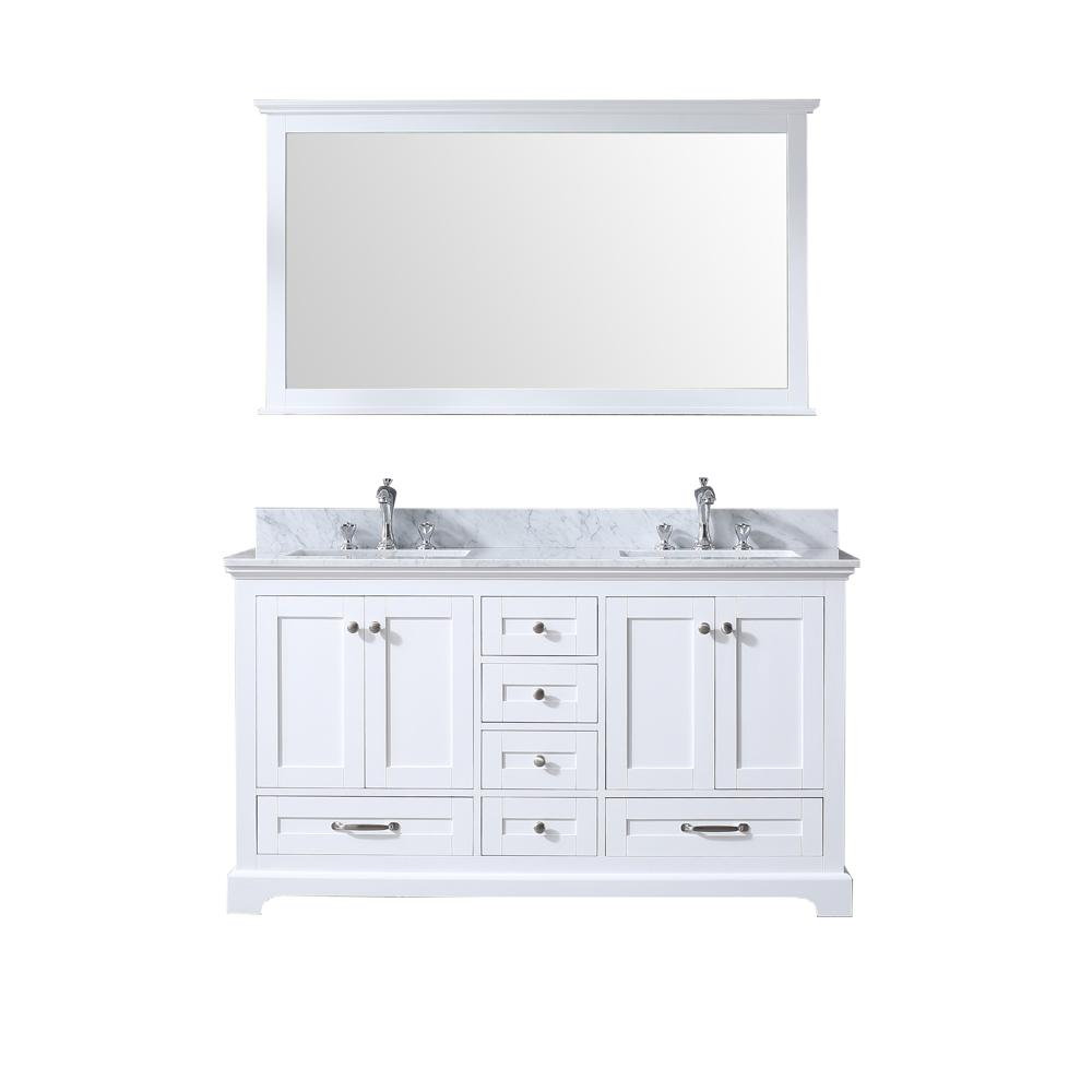 Lexora Dukes 60 in. Double Bath Vanity in White w/ White Carrera Marble Top w/ White Square Sinks and 58 in. Mirror