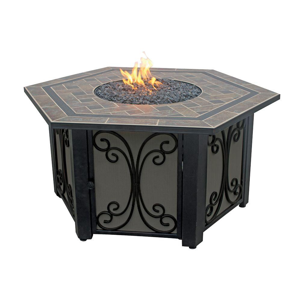 Hex LP Fire Pit With Slate Tile And Wrought