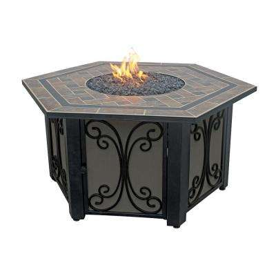 41 in. Hex LP Fire Pit with Slate Tile and Wrought Iron Panels