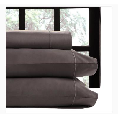 4-Piece Chocolate Solid 700 Thread Count Cotton California King Sheet Set