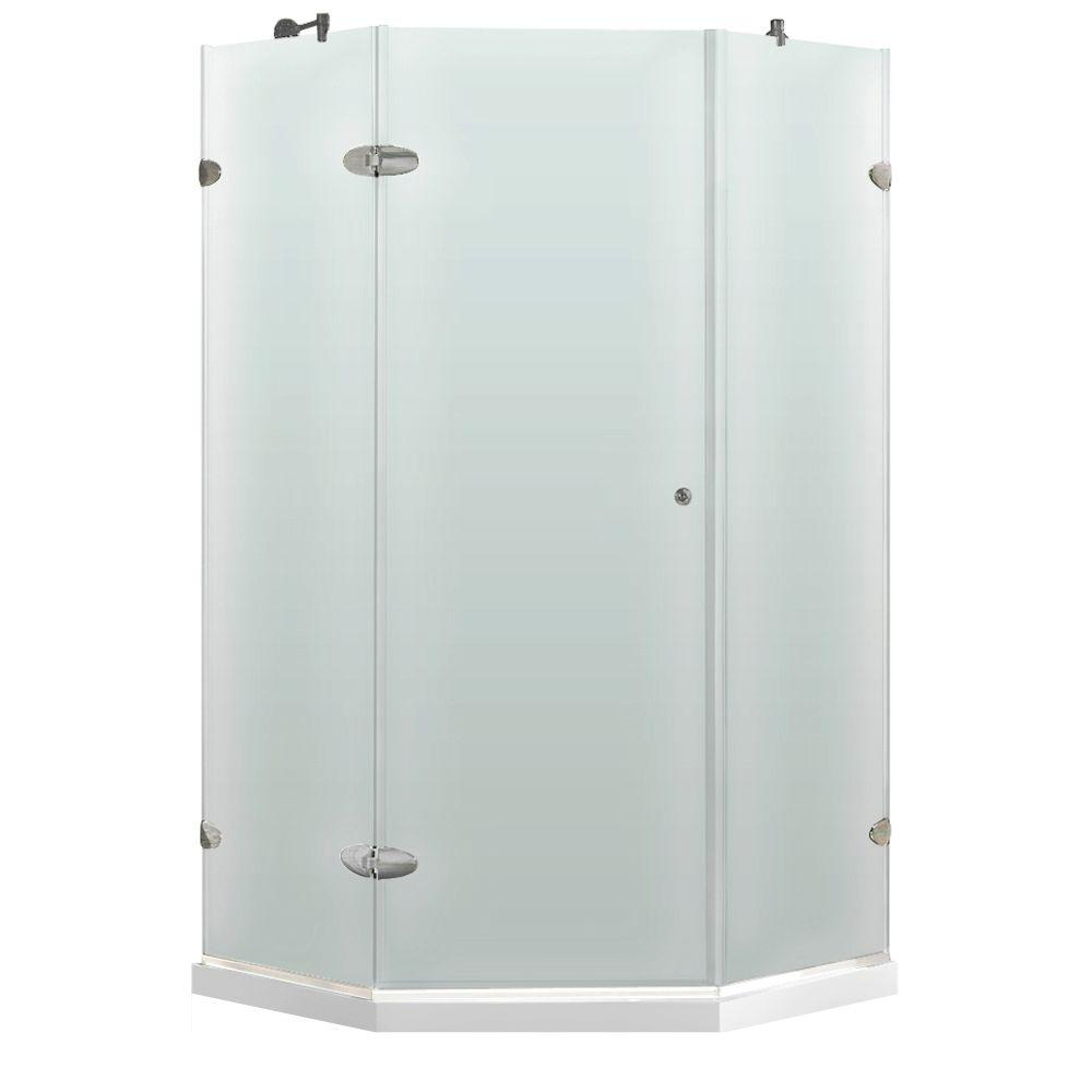 Vigo 38.125 in. x 38.125 in. x 76.75 in. Neo-Angle Shower Enclosure in Brushed Nickel with Frosted Right Door