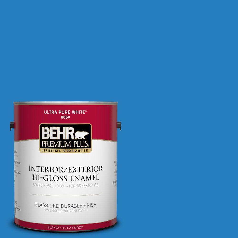 BEHR Premium Plus 1-gal. #P510-6 Brilliant Blue Hi-Gloss Enamel Interior/Exterior Paint