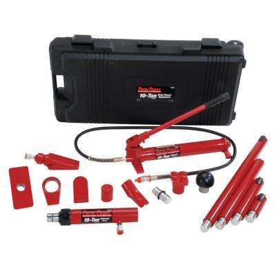 10-Ton Hydraulic Body Repair Kit in Black/Red (19-Piece)
