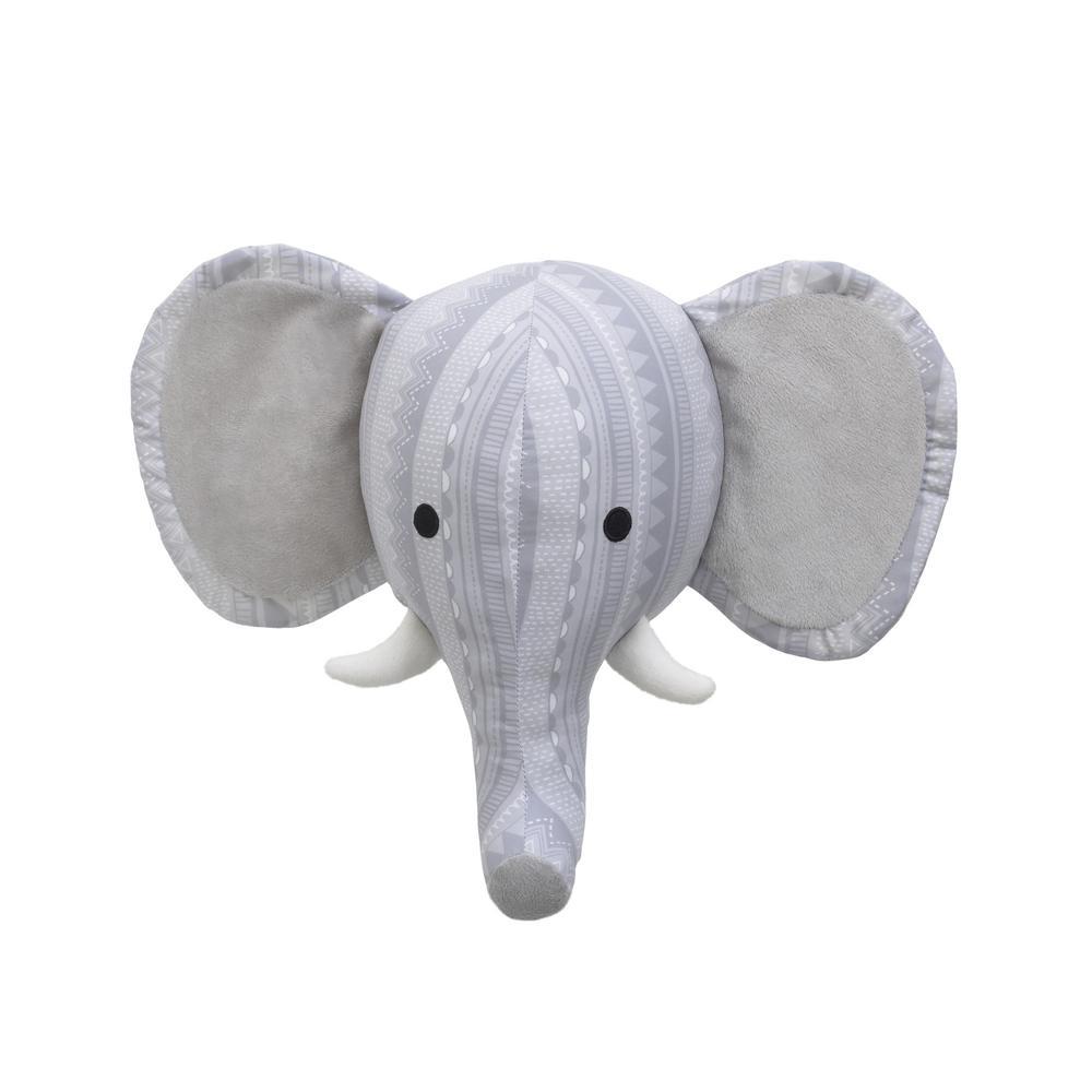 Nojo Grey White Elephant Head Printed