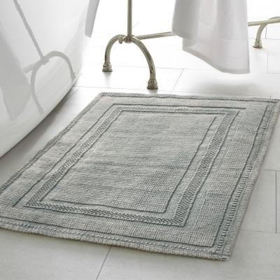 Cotton Stonewash Racetrack Gray Blue 20 in. x 32 in Solid Bordered 2-Piece Bath Rug Set