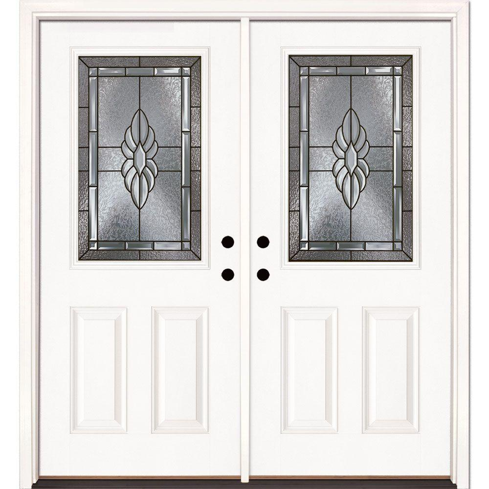 Feather River Doors 66 in. x 81.625 in. Sapphire Patina 1/2 Lite Unfinished Smooth Right-Hand Inswing Fiberglass Double Prehung Front Door