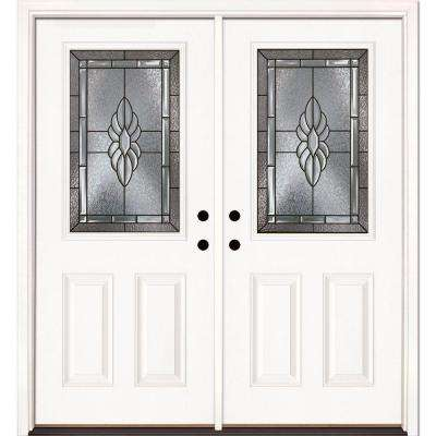 74 in. x 81.625 in. Sapphire Patina 1/2 Lite Unfinished Smooth Right-Hand Inswing Fiberglass Double Prehung Front Door