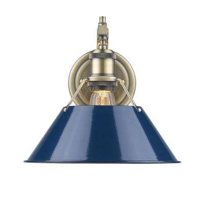 Orwell AB 1-Light Aged Brass Sconce with Navy Blue Shade