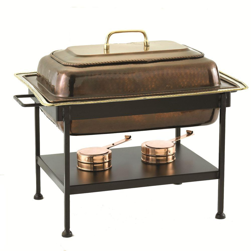 Old Dutch 8 qt. 23 in. x 13 in. x 19 in. Rectangular Antique Copper over Stainless Steel Chafing Dish