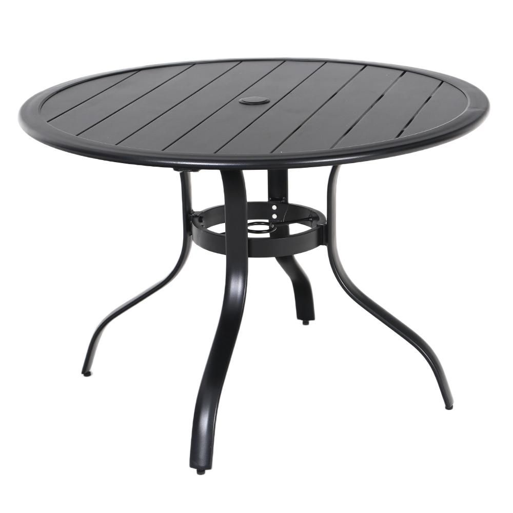 Round Black Dining Table: Hampton Bay Commercial Aluminum 40 In. Round Outdoor Slat