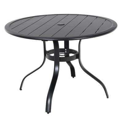 Commercial Aluminum 40 in. Round Outdoor Slat Top Dining Table in Black