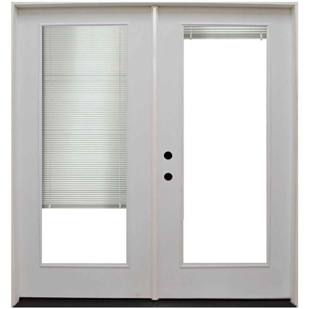 Steves Sons 60 In X 80 In Primed White Fiberglass Prehung Right Hand Inswing Mini Blind