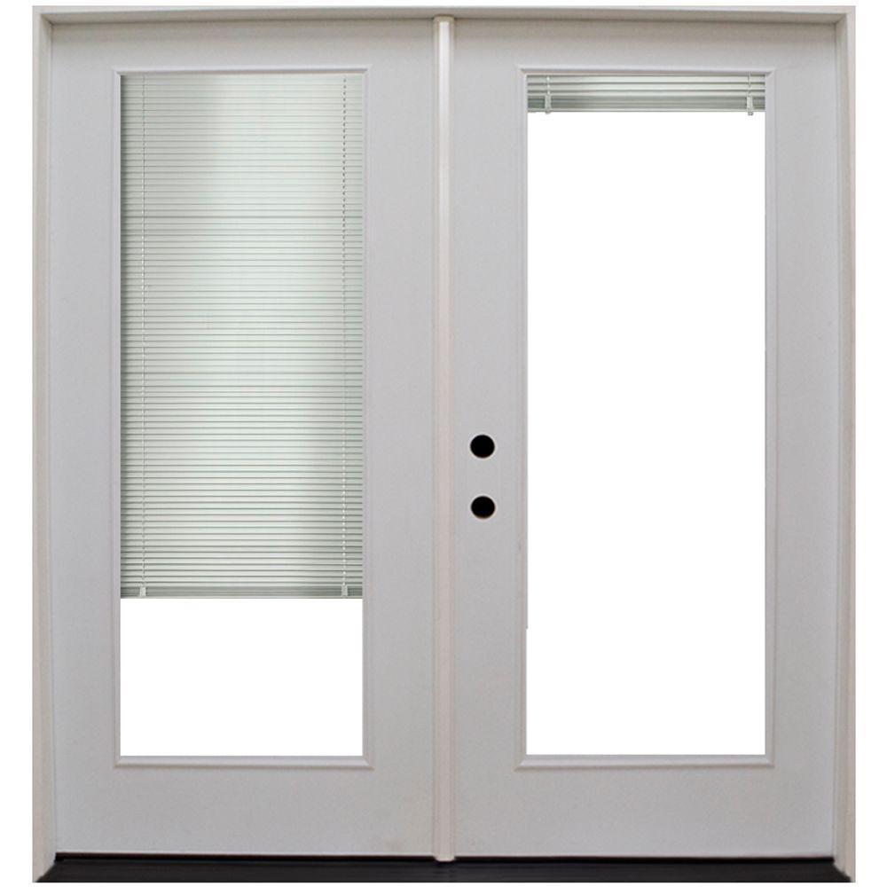 Steves & Sons 68 in. x 80 in. Primed White Fiberglass Prehung Right-Hand Inswing Mini Blind Patio Door