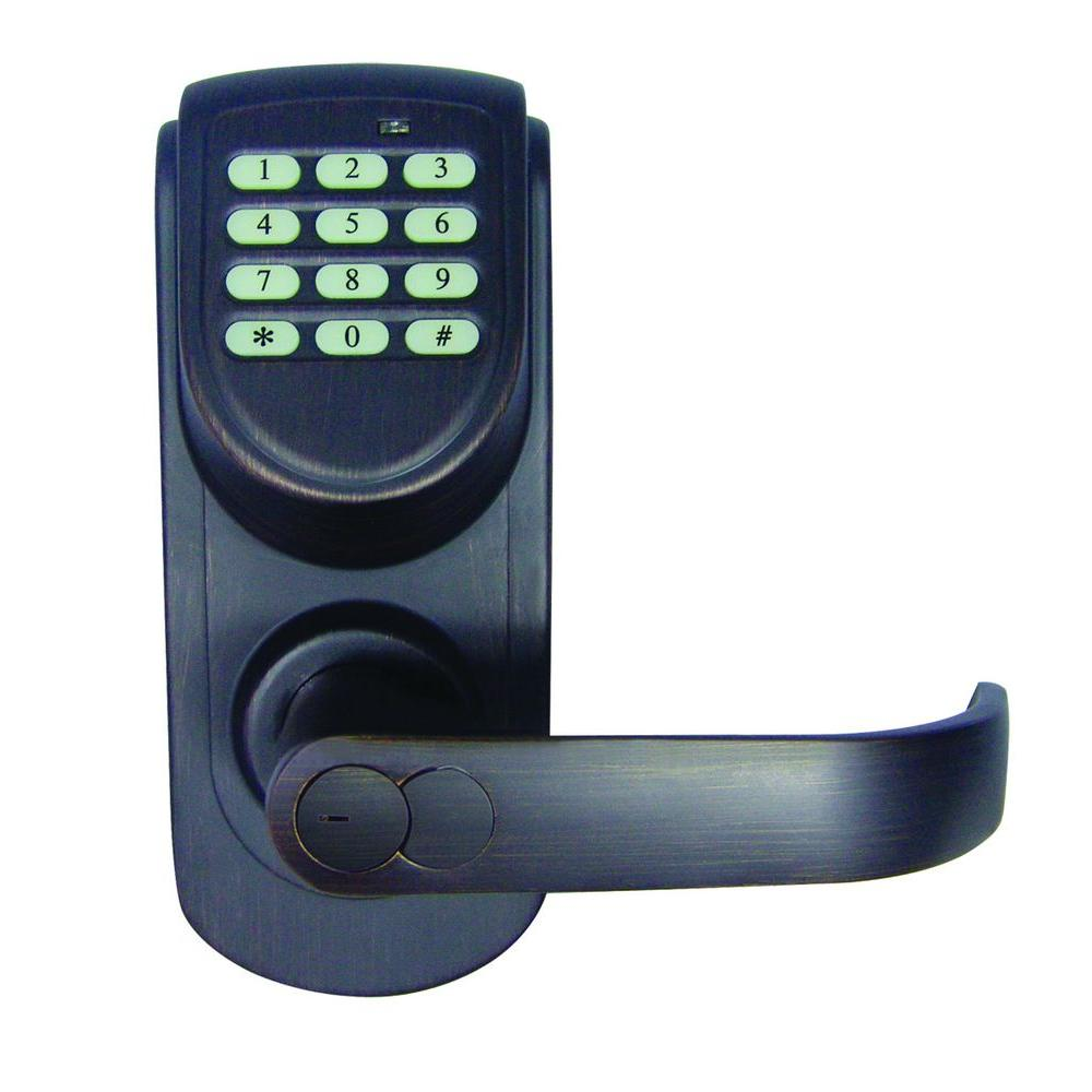 Design House Brushed Bronze Electronic Keypad Entry Lever with Right-Hand