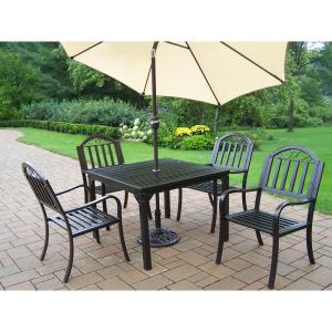 Click here to buy  Rochester 7-Piece Metal Outdoor Dining Set and Beige Umbrella.
