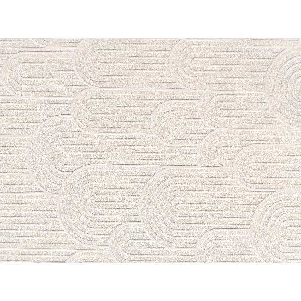 White Retro Geometric Hills Wallpaper