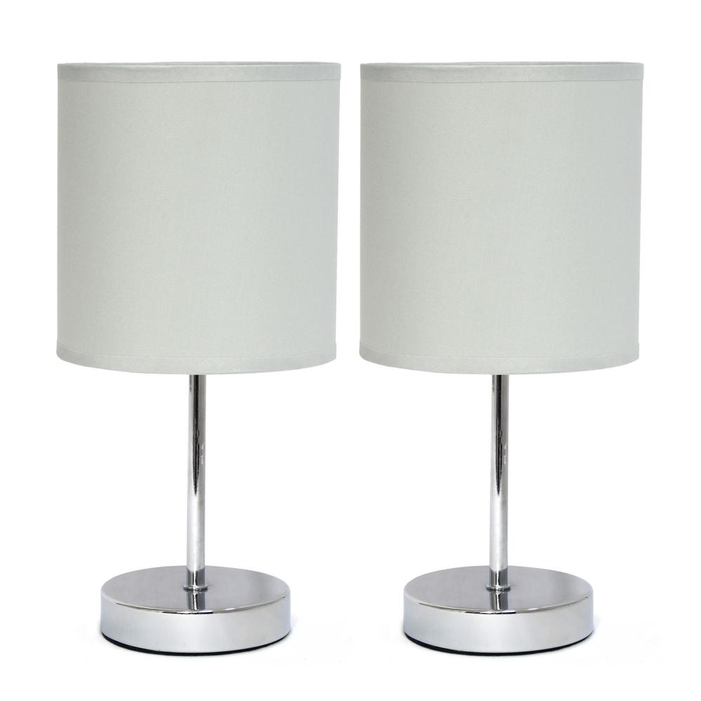 11 in. Chrome Mini Basic Slate Gray Table Lamp with Fabric Shade (2-Pack)