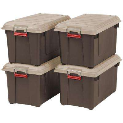 87 Qt. Weather Tight Store-It-All Storage Bin in Brown (Pack of 4)