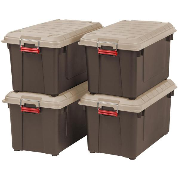 82 Qt. Weather Tight Store-It-All Storage Bin in Brown (Pack of 4)