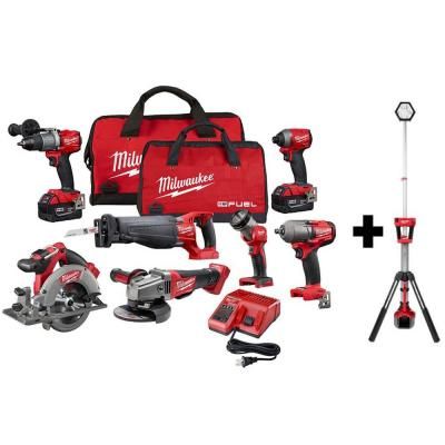 M18 FUEL 18-Volt Lithium-Ion Brushless Cordless Combo Kit (7-Tool) with M18 Rocket Dual Power Tower Light