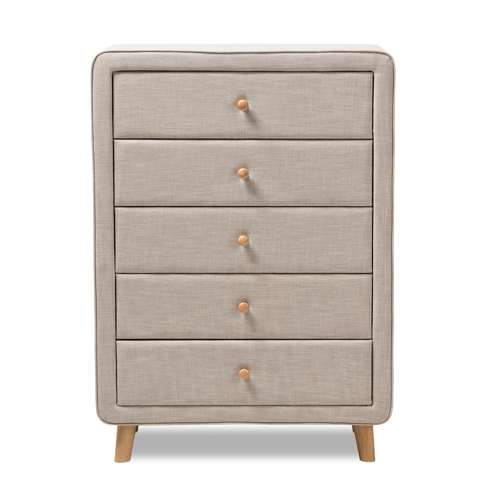 Jonesy Mid-Century 5-Drawer Beige Fabric Upholstered High Chest
