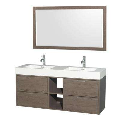 Daniella 60 in. W x 18 in. D Vanity in Gray Oak with Acrylic Vanity Top in White with White Basins and 58 in. Mirror