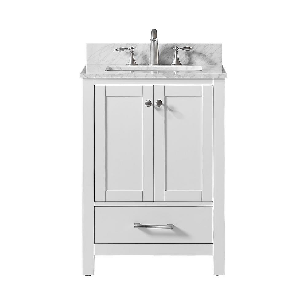 Colette 25 In. W X 22 In. D X 34.2 In. H Bath Vanity In White With Carrara Marble Vanity Top In White With White Basin by Exclusive Heritage