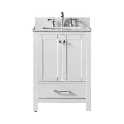 Colette 25 in. W x 22 in. D x 34.2 in. H Bath Vanity in White with Carrara Marble Vanity Top in White with White Basin