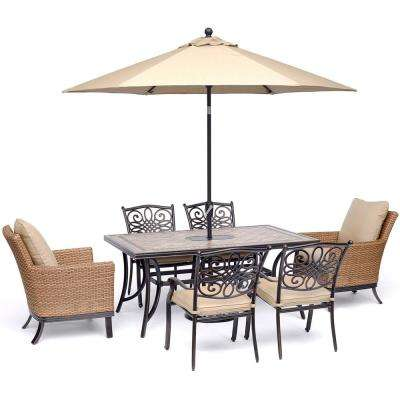 Monaco 7-Piece Aluminum Outdoor Dining Set with Tan Cushions 2 Woven, 4 Cast Dining Chairs, Table, Umbrella