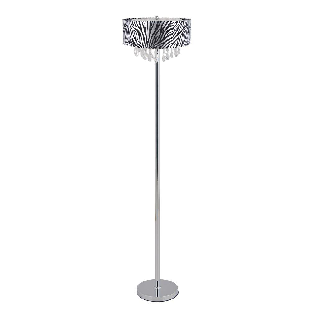 Romazzino Crystal Collection 61.5 in. Chrome Floor Lamp with Zebra Print