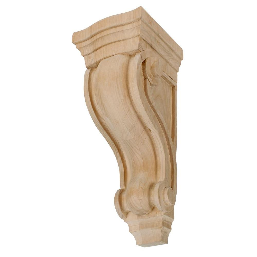 American Pro Decor 10 12 In X 4 78 In X 5 14 In Unfinished Medium North American Solid Alder Classic Traditional Plain Wood Corbel