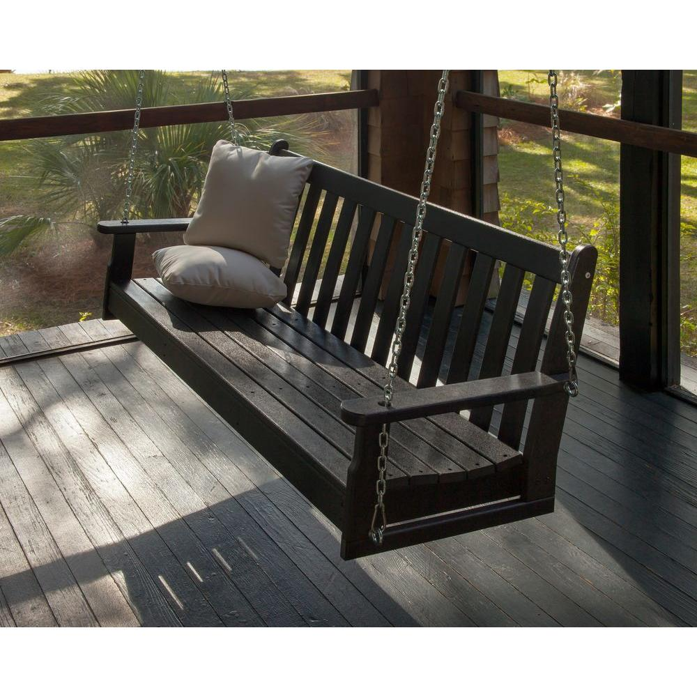 Black Plastic Outdoor Porch Swing