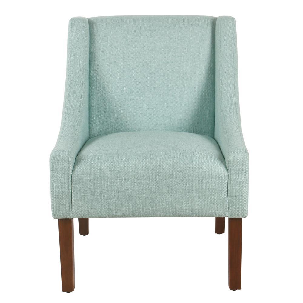 Light Aqua Woven Modern Swoop Arm Accent Chair