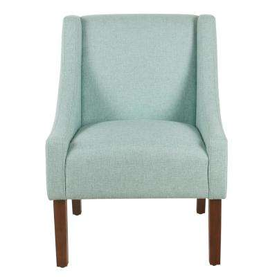 Light Aqua Woven Modern Swoop Arm Accent Chair