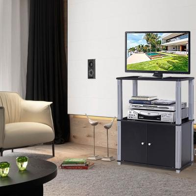 31.5 in. Black TV Stand Component Console Display Rack with Storage Cabinet