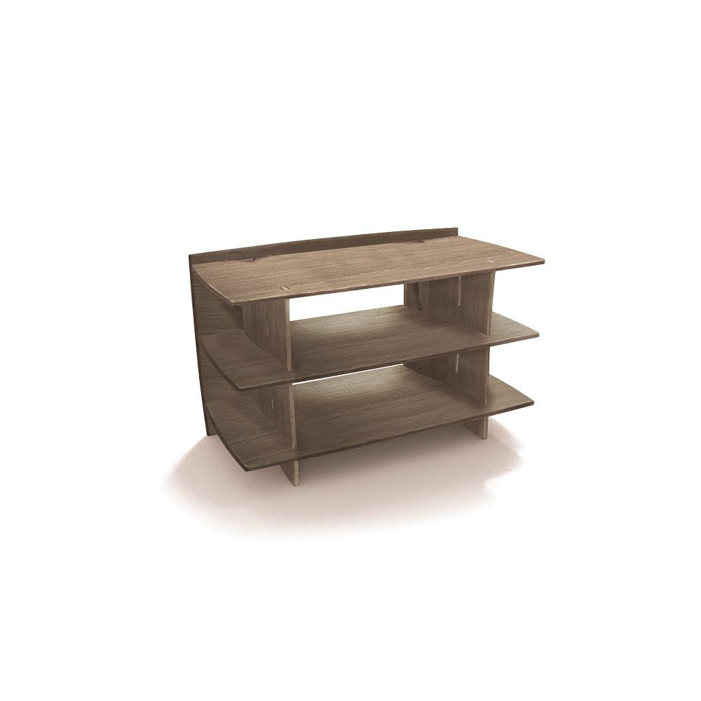 38 in. x 24 in. Entertainment Center Shelving Unit and Solid Wood in Grey