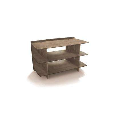 38 in. x 24 in. Entertainment Center Shelving Unit and Solid Wood in Grey Driftwood