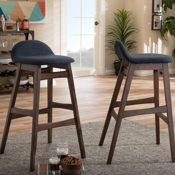 Baxton Studio Bloom Dark Blue Fabric Upholstered 2-Piece Bar Stool Set