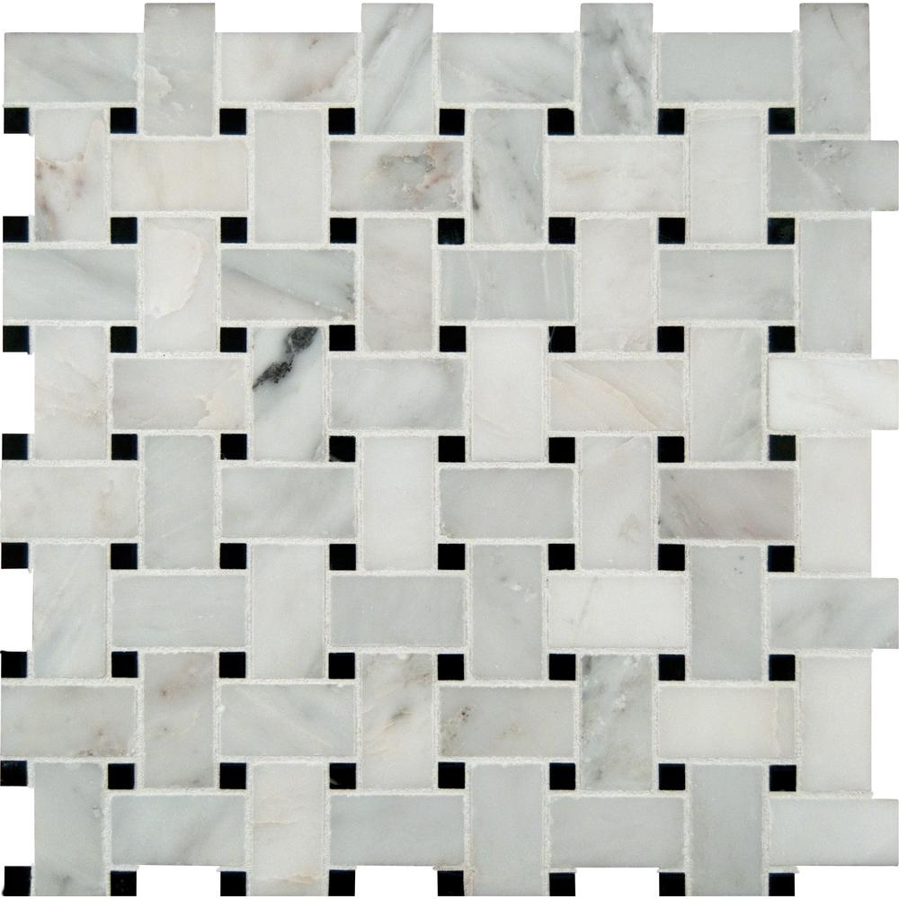 MSI Greecian White Basketweave 12 in. x 12 in. x 10mm Polished Marble Mesh-Mounted Mosaic Tile (10 sq. ft. / case)